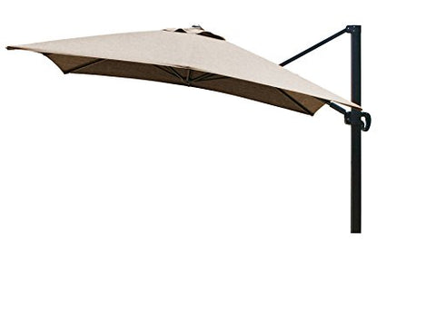 Eclipse Collection 10'x10' SquareCantileverUmbrella CL MultiPositon Bronze/Sunbrella/Can Teak
