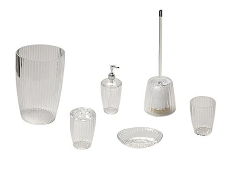 Park Avenue Deluxe Collection Park Avenue Deluxe Collection Clear Ribbed 5 Piece Acrylic Bath Accessory Set