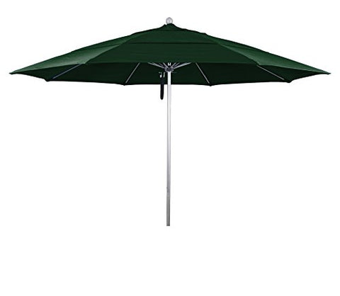 Eclipse Collection 11' Fiberglass Market Umbrella PO DVent Silver Anodized/Pacifica/Hunter Green