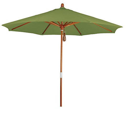 Eclipse Collection 9' Wood Market Umbrella Pulley Open Marenti Wood/Pacifica/Ginkgo