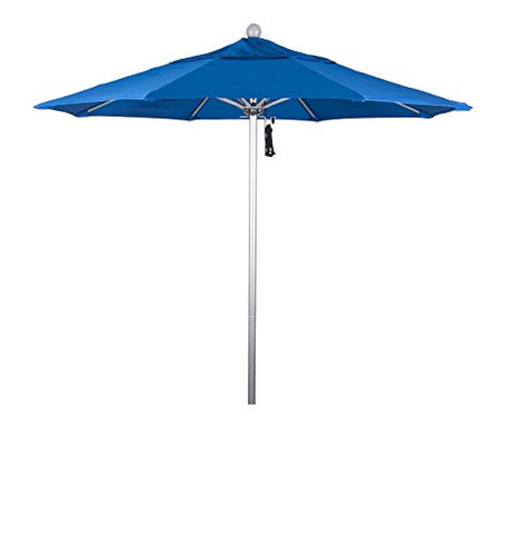 Eclipse Collection 7.5' Fiberglass Market Umbrella Pulley Open Silver Anodized/Pacifica/Pacific Blue