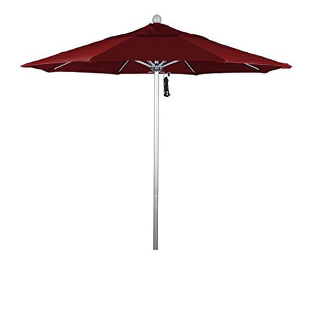Eclipse Collection 7.5' Fiberglass Market Umbrella Pulley Open Silver Anodized/Olefin/Red
