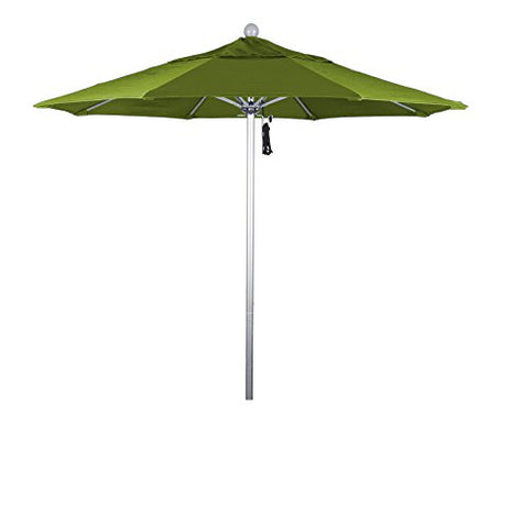 Eclipse Collection 7.5' Fiberglass Market Umbrella Pulley Open Silver Anodized/Pacifica/Ginkgo