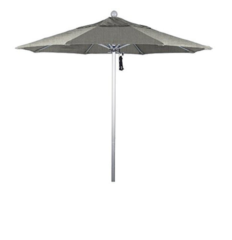 Eclipse Collection 7.5' Fiberglass Market Umbrella PO DVent Silver Anodized/Sunbrella/Granite
