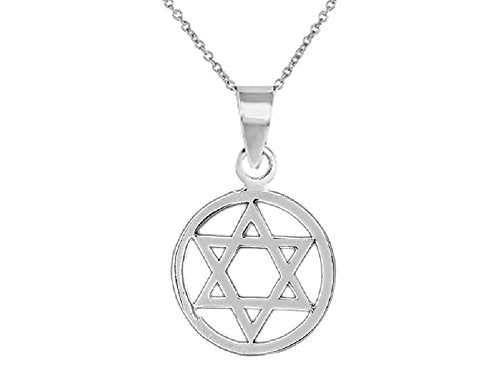 Silver Star Of David Pendant With 16 inch  Link Chain