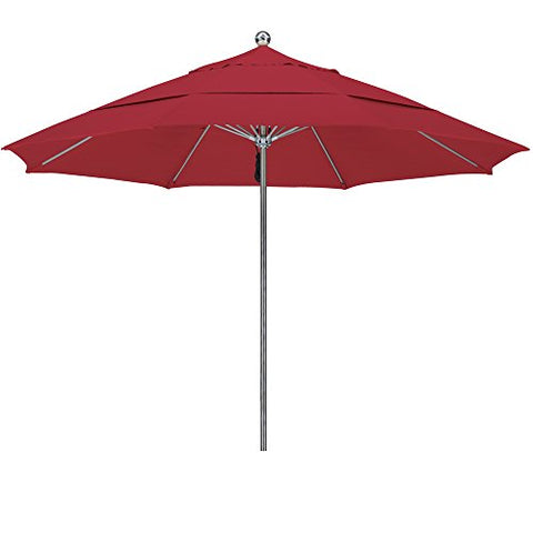 Eclipse Collection 11'SSteel SinglePole FGlass Ribs M Umbrella DV Anodized/Sunbrella/J Red