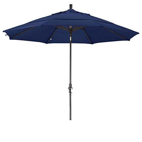 Eclipse Collection 11' Aluminum Market Umbrella Collar Tilt Bronze/Olefin/Navy Blue/DWV
