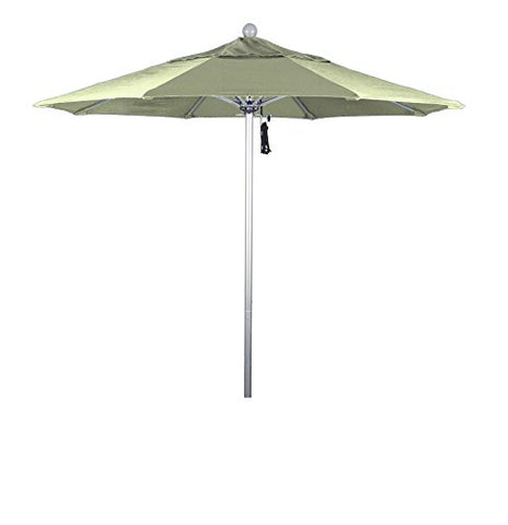 Eclipse Collection 7.5' Fiberglass Market Umbrella Pulley Open Silver Anodized/Pacifica/Natural