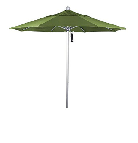 Eclipse Collection 7.5' Fiberglass Market Umbrella Pulley Open Silver Anodized/Pacifica/Palm