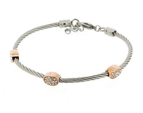 Ben and Jonah Stainless Steel Ladies Cable Bracelet with Oval Rose Gold Plated Static Charms Cover with Clear Stones
