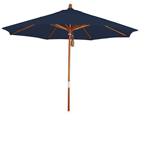 Eclipse Collection 9' Wood Market Umbrella Pulley Open Marenti Wood/Pacifica/Navy Blue