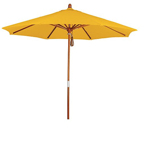 Eclipse Collection 9' Wood Market Umbrella Pulley Open Marenti Wood/Pacifica/Yellow