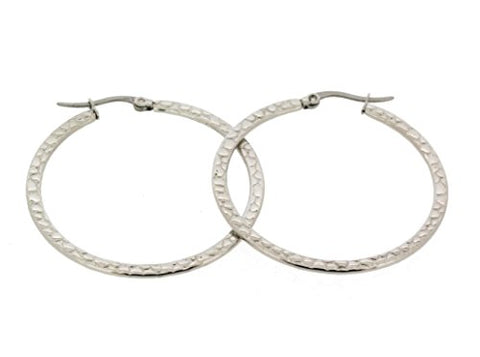 Ben and Jonah Stainless Steel Textured Mosaic Designed Hoop Earring 35mm