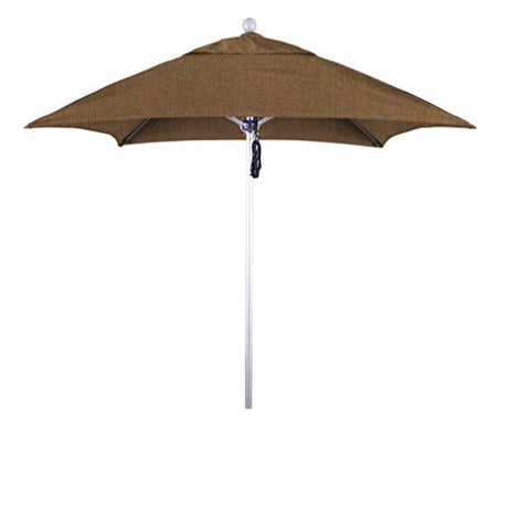 Eclipse Collection 6' Fiberglass Market Umbrella PO DVent Silver Anodized/Sunbrella/Canvas Teak