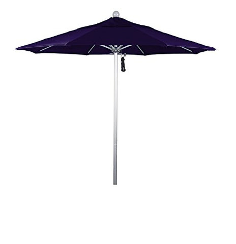 Eclipse Collection 7.5' Fiberglass Market Umbrella Pulley Open Silver Anodized/Pacifica/Purple