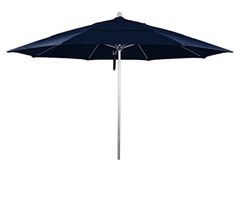 Eclipse Collection 11' Fiberglass Market Umbrella PO DVent Silver Anodized/Sunbrella/Navy