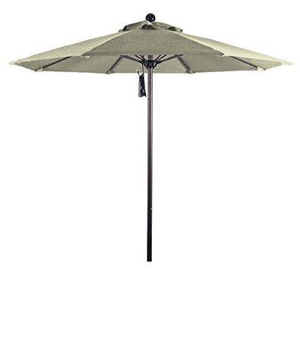 Eclipse Collection 7.5' Fiberglass Market Umbrella Pulley Open Bronze/Pacifica/Natural