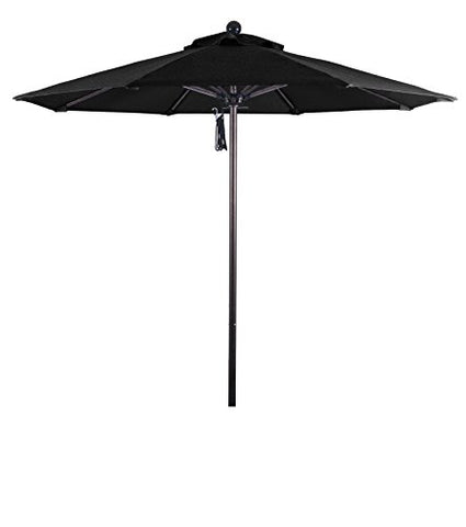 Eclipse Collection 7.5' Fiberglass Market Umbrella Pulley Open Bronze/Olefin/Black