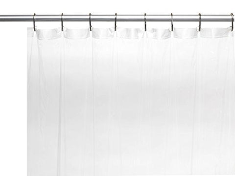 Splish Splash Extra Long 5 Gauge Vinyl Shower Curtain Liner with Metal Grommets In Frosty Clear Size 72 inch  Wide x 84 inch  Long