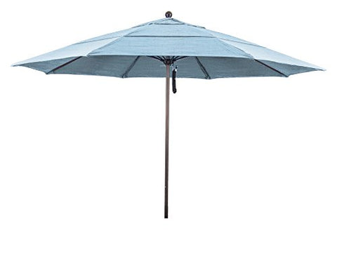 Eclipse Collection 11' Fiberglass Market Umbrella PO DVent Bronze/Sunbrella/Air Blue
