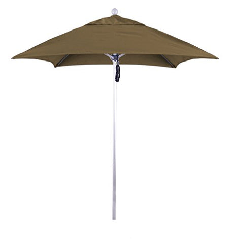 Eclipse Collection 6' Fiberglass Market Umbrella PO DVent Silver Anodized/Sunbrella/Cocoa