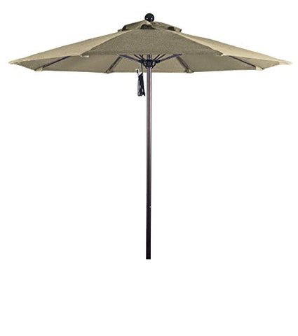 Eclipse Collection 7.5' Fiberglass Market Umbrella Pulley Open Bronze/Pacifica/Beige