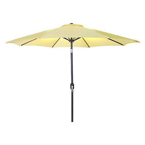 Eclipse Collection 8'H x 9'Dia Octagonal Steel Tilt Market Umbrella with Crank (Canary Yellow)