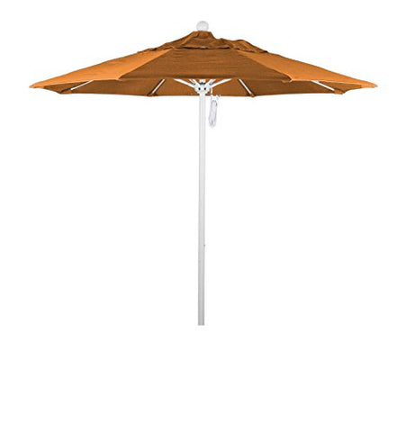 Eclipse Collection 7.5' Fiberglass Market Umbrella Pulley Open MWhite/Olefin/Sunset