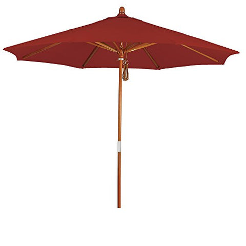 Eclipse Collection 9' Wood Market Umbrella Pulley Open Marenti Wood/Pacifica/Brick