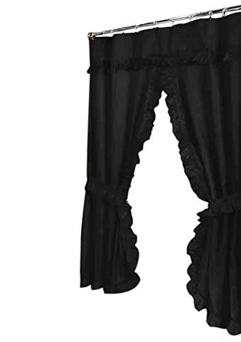 Park Avenue Deluxe Collection  inch Lauren inch  Double Swag Shower Curtain Black
