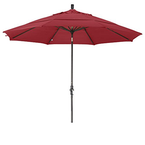 Eclipse Collection 11' Aluminum Market Umbrella Collar Tilt Bronze/Olefin/Red/DWV