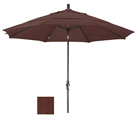 Eclipse Collection 11' Aluminum Market Umbrella Collar Tilt Bronze/Olefin/Terrace Adobe/DWV