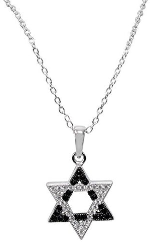 Silver Star Of David Necklace With Black/Silver Stones - Chain 18 inch  Pendant 1/2 inch H X 1/2 inch W