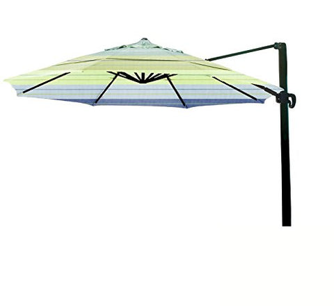 Eclipse Collection 11' CantileverUmbrella CrankLift MultiPositon Tilt Bronze/Sunbrella/Seville Seaside