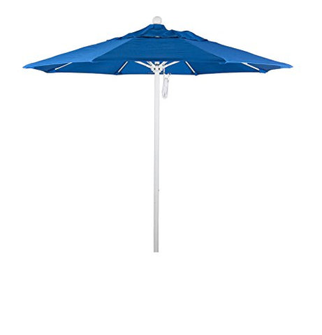 Eclipse Collection 7.5' Fiberglass Market Umbrella Pulley Open MWhite/Olefin/Royal Blue