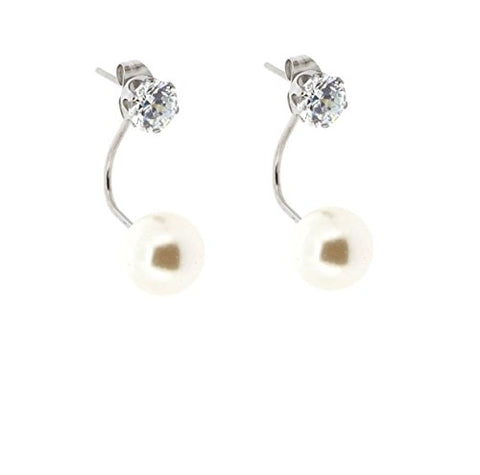 Ben and Jonah Stainless Steel Clear Stone Stud Earring with a Faux Pearl Drop Under Earlobe