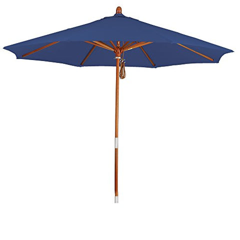 Eclipse Collection 9' Wood Market Umbrella Pulley Open Marenti Wood/Pacifica/Sapphire