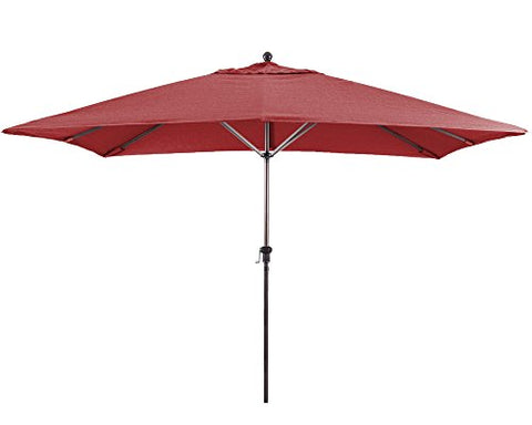 Eclipse Collection 11' Fiberglass Market Umbrella EasyLift No Crank No Tilt Bronze/Jockey Red