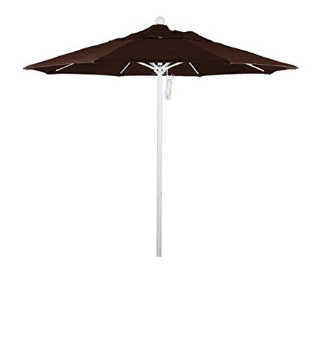 Eclipse Collection 7.5' Fiberglass Market Umbrella Pulley Open MWhite/Pacifica/Mocha