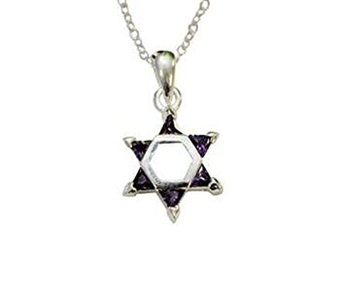 Silver Star of David with Purple Color Stones Necklace - Chain 18 inch  Pendant 1/2 inch W X 1 inch H