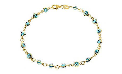 Ben & Jonah 925 Sterling Silver Gold PLated Evil Eye 8 inch  Bracelet - Lt. Blue