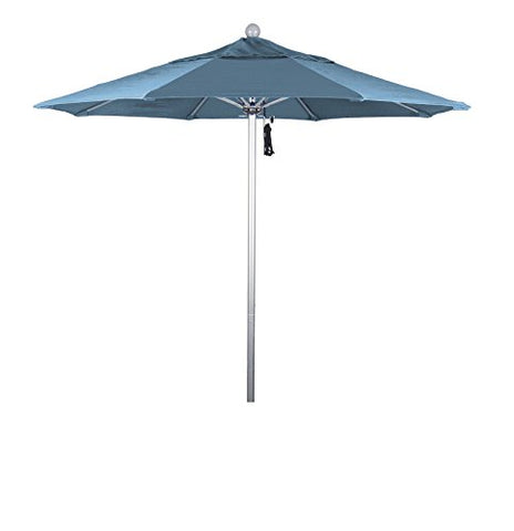 Eclipse Collection 7.5' Fiberglass Market Umbrella Pulley Open Silver Anodized/Olefin/Frost Blue