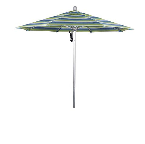Eclipse Collection 7.5' Fiberglass Market Umbrella PO DVent Silver Anodized/Sunbrella/Seville Seaside