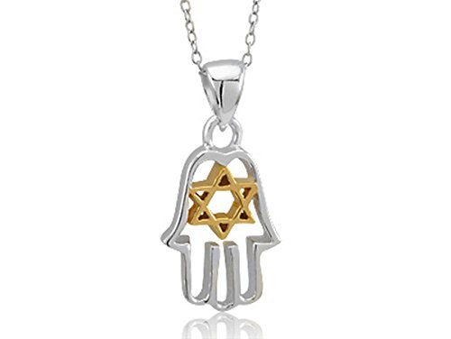 Silver Hamsa with Gold Tone Star of David on 16 inch  Link Chain
