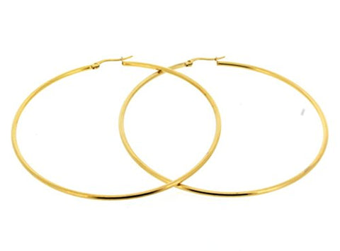 Ben and Jonah Stainless Steel Gold Plated Hoop Earring (70mm) 70mm