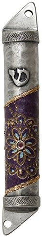 Ultimate Judaica Mezuzah Case Pewter 8cm Purple