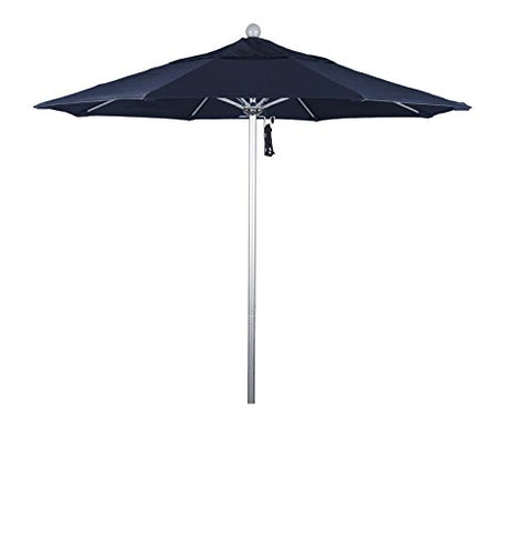 Eclipse Collection 7.5' Fiberglass Market Umbrella Pulley Open Silver Anodized/Pacifica/Navy Blue