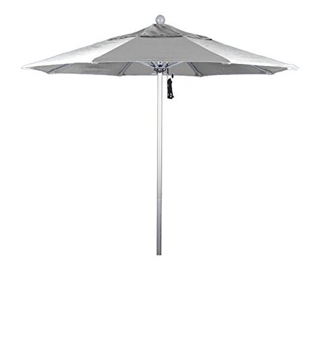 Eclipse Collection 7.5' Fiberglass Market Umbrella Pulley Open Silver Anodized/Olefin/White