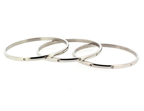 Ben and Jonah Stainless Steel Fancy Set of 3 Bangles with Clear Stones 64mm