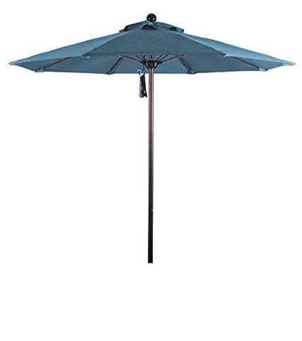 Eclipse Collection 7.5' Fiberglass Market Umbrella Pulley Open Bronze/Pacifica/Capri